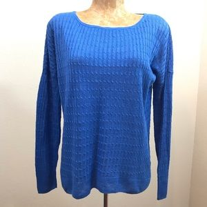 J. Crew Light Weight Cable Knit Sweater Sz S Blue
